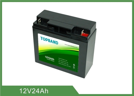 Black Color UPS Rechargeable Batteries 12V 24Ah 2 Years Warranty ISO9001